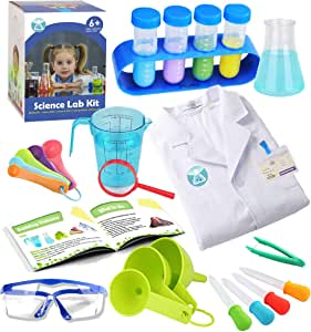 UNGLINGA Kids Science Experiment Kit with Lab Coat Scientist Costume Dress Up and Role Play Toys  Boys Girls Kids Age 3 - 11