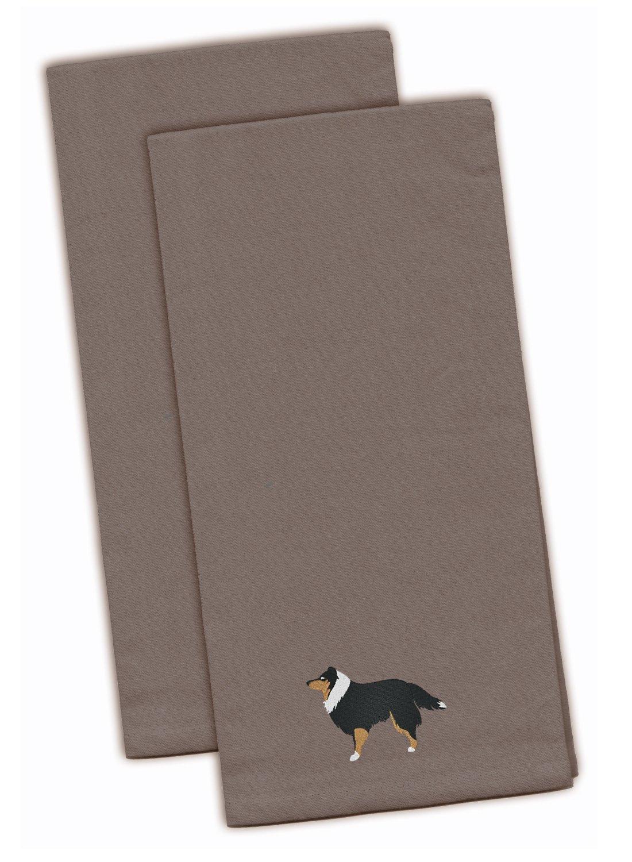 28 x 19 Multicolor Set of 2 Carolines Treasures BB3477GYTWE Anatolian Shepherd Gray Embroidered Kitchen Towel