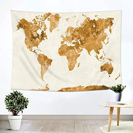 Amazon ileadon watercolor world map tapestry wall hanging ileadon watercolor world map tapestry wall hanging light weight polyester fabric wall decor for gumiabroncs Choice Image