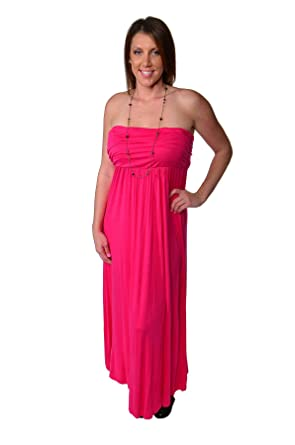 1dcb6a763ac 24 7 Comfort Apparel Plus Size Dresses Strapless Maxi Tube Dress For Womens  -  Made in USA  at Amazon Women s Clothing store