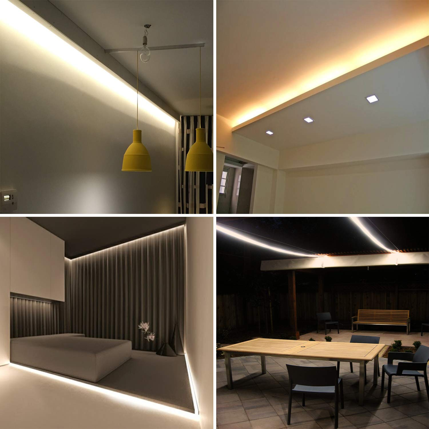 50ft Flat Flexible Light Strip UL Certified Inter-Connectable Decorative Lighting for Any Location. LED Rope Lights Water Resistant for Both Indoor//Outdoor Use 3000K Warm White