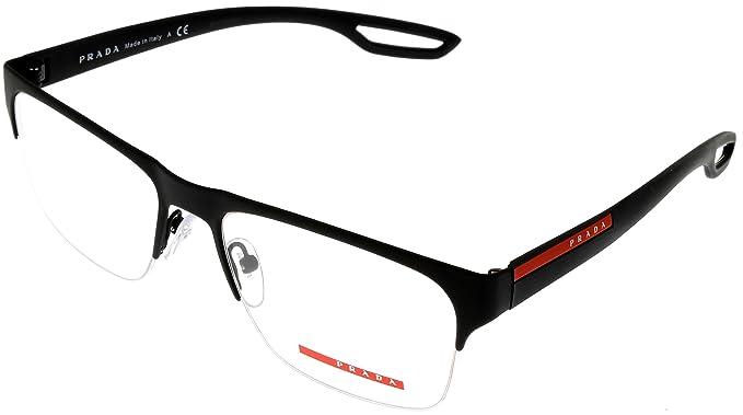 Prada Sport Prescription Eyewear Frames Black Red Matte Semi-Rimless ...