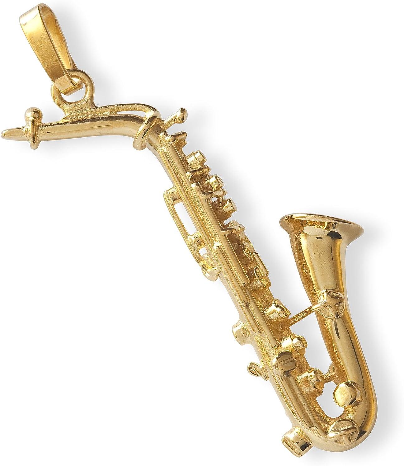 Argent Massif 925 Plaqu/é Or 23,5 Carats Instrument de musique Bijou cadeau musique Pendentif Saxophone Alto