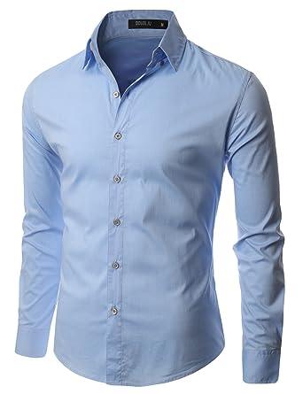 Doublju Mens Long Sleeve Collared Button Down Dress Shirt at ...
