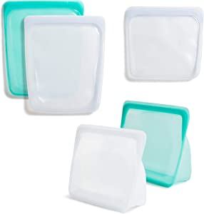 Stasher 100% Silicone Reusable Food Bag Bundle (Sandwich, Large 1/2 Gallon, Stand Up) Clear and Aqua