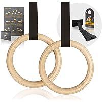 High Pulse® Turnringen incl. deuranker, deurbordje + oefenposter - gymnastiekringen van hout voor een effectieve…