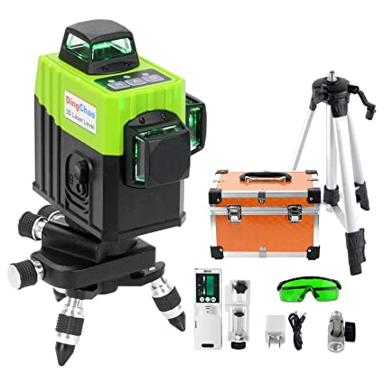DINGCHAO Construction Green Laser Level Kit with Tripod,Receiver/Detector, Micro-Adjust