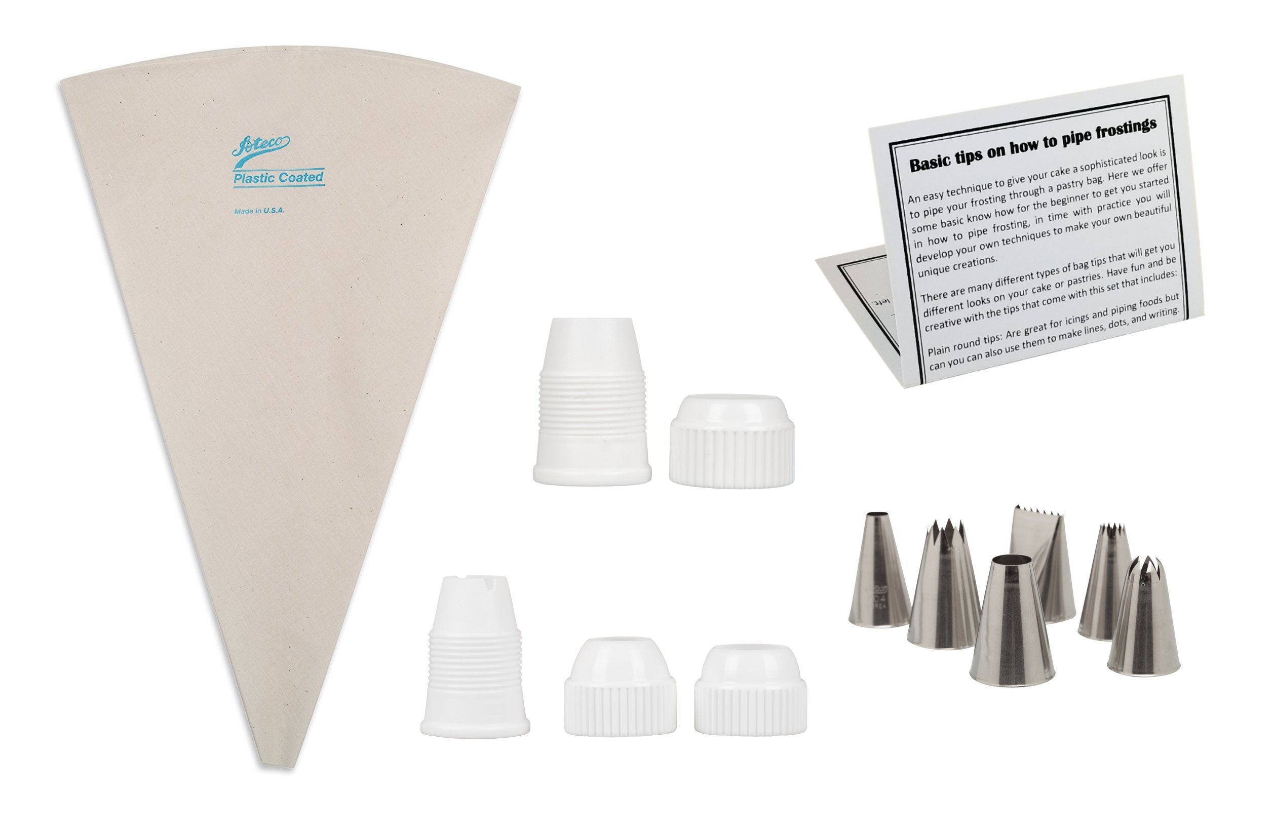 Pastry Decorating Piping Kit, Ateco Reusable 18 Inch Pastry Bag with 6 Piece Assorted Pastry Tube Tips, 1 Large and 1 Medium Coupler Cake Set with Information Card