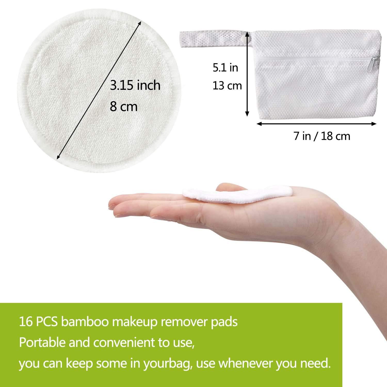 16 Pieza Make Up Limpieza Facial Pad 3 Capas Discos Desmaquillantes de bamb/ú con Bolsa de Lavander/ía Almohadillas Lavables de Algod/ón Reutilizables