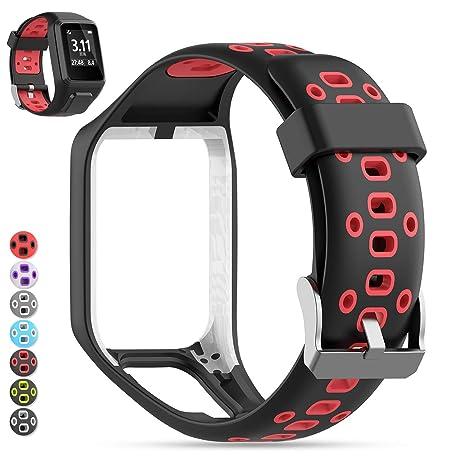 Tomtom Correa de Reloj, MOGOI Correa de silicona de repuesto para reloj deportivo GPS TomTom Runner 2/ Runner 3/ Spark 3/ Adventurer/ Golfer 2 GPS ...