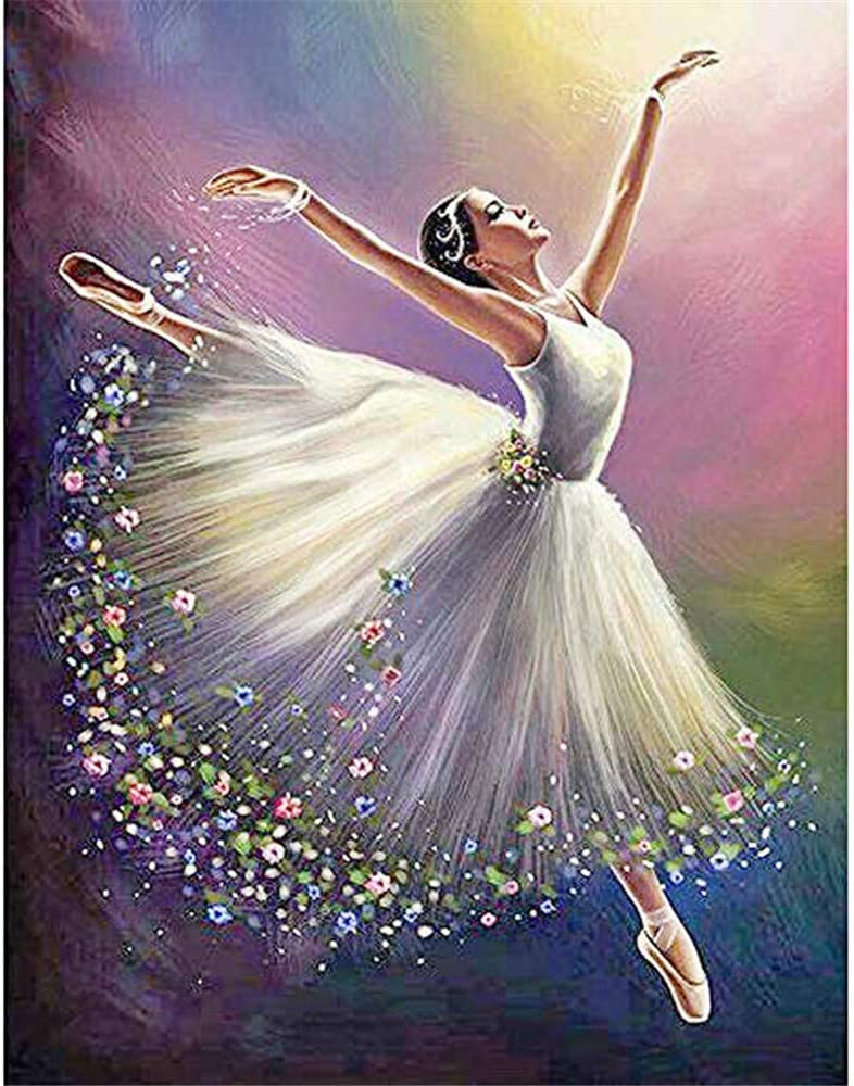 BoutiQ Diamond Painting Kits for Adults Full Drill - Ballet Girl 40x50cm, 5D DIY Round Beads Paint by Number Kit Set Puzzle Embroidery Pictures Stress Relief Pixel Arts Craft for Home Wall Decor