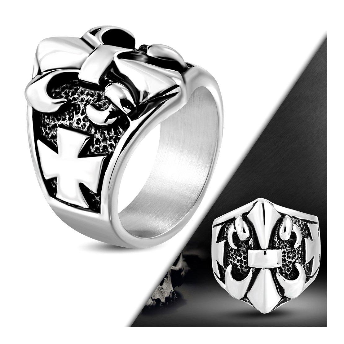 Stainless Steel 2 Color Pattee /& Fleur De Lis Flower Cross Biker Ring