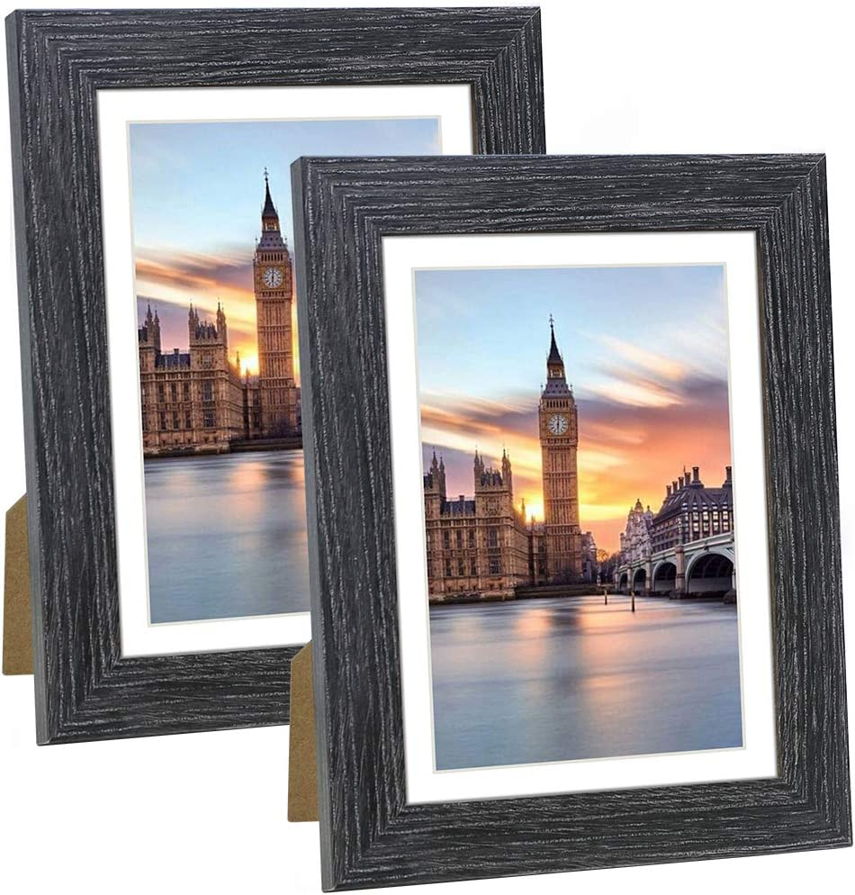 NUOLAN 5x7 Picture Frame with Mat Rustic Black Wood Pattern Set of 2, Display - 4x6 Photos with Mat, 5x7 Without Mat (NL5x7-DG)