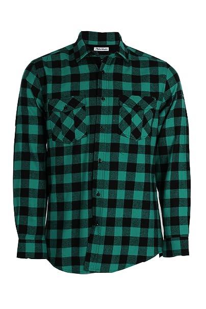 selezione premium 34f47 d4592 Camicia in Flanella a Scacchi Verde, M: Amazon.it: Abbigliamento