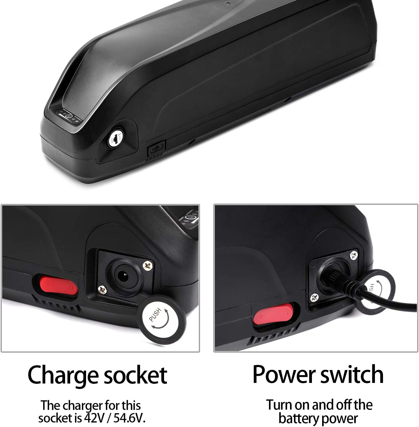 Eahora Electric Bicycle Battery 36V//48V Lithium ion Battery with Charger Electric Bike Battery for 750W//500W//350W//250W EBike Motor Protection Board USB Port