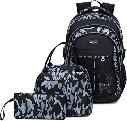 Goldwheat School Backpack for Boys Cool Camouflage Bookbags with Lunch Box Pencil Case 3pcs for Middle School