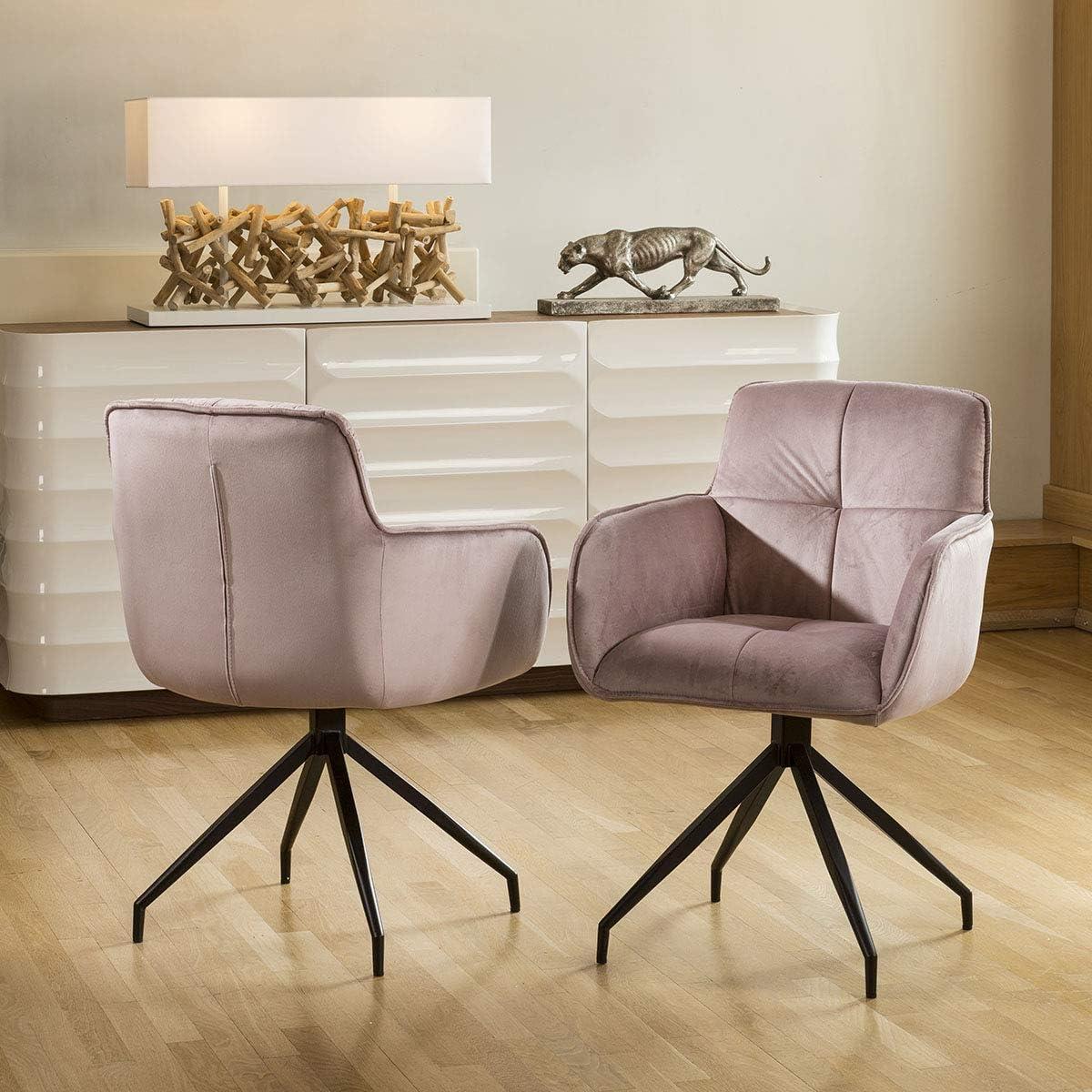 Avant Garde Set Of 2 Super Comfy Velvet 360 Swivel Dining Carver Chairs Dusky Pink Amazon Co Uk Kitchen Home