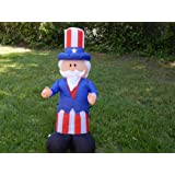 PATRIOTIC 4TH OF JULY INFLATABLE UNCLE SAM W/ TOPHAT