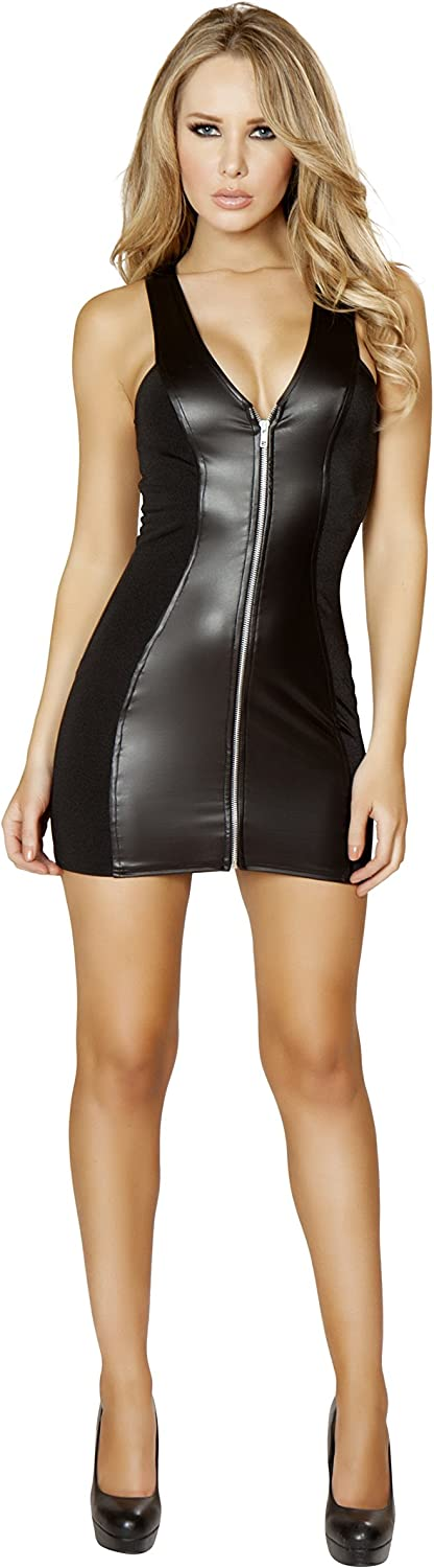 Roma Womens Mini Dress with Full Zip Up Front
