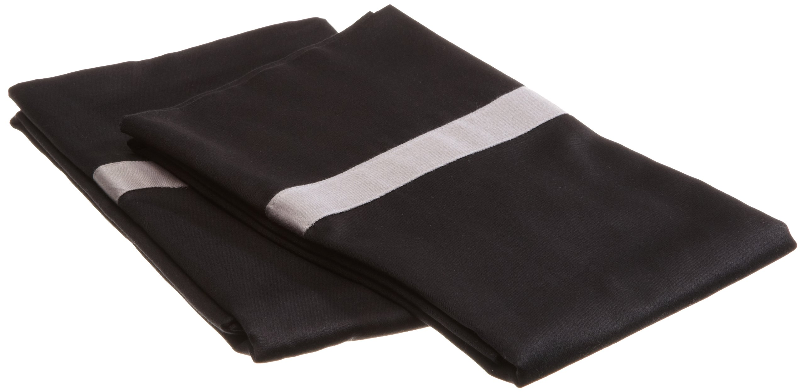 Impressions 300 Thread Count 100% Cotton, Hotel Collection, Single Ply,  King Pillowcase Set, Black with Grey