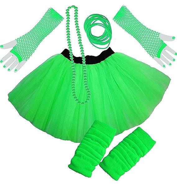New Ladies NEON LEG WARMERS NECKLACE /& GLOVES Tutu 80/'s FANCY DRESS 3 Piece Set