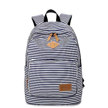 Moda lindo rayas Casual lona portátil bolso escolar mochila ligera mochilas para niñas adolescentes: Amazon.es: Equipaje
