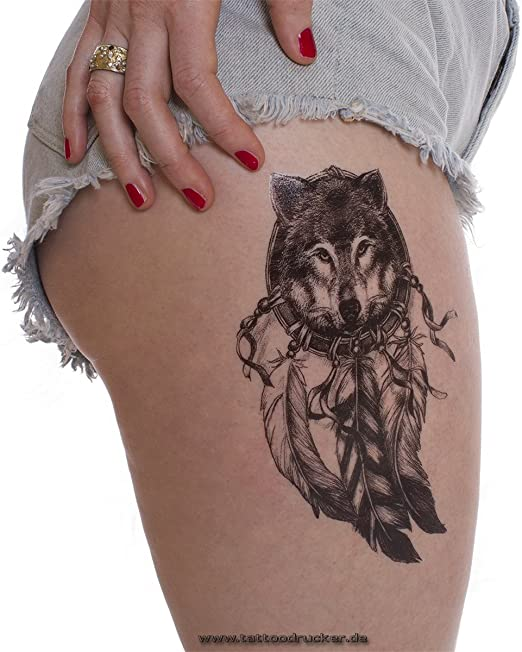 Wolf atrapasueños Tattoo en negro – Dream Catcher, Negro , 1 x ...