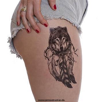 1 X Wolf Traumfanger Tattoo In Schwarz Dreamcatcher Indianischer