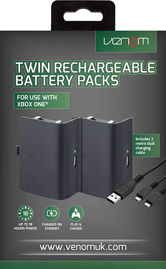 Venom - Twin Rechargeable Battery Packs Con Cubiertas, Color Negro ...