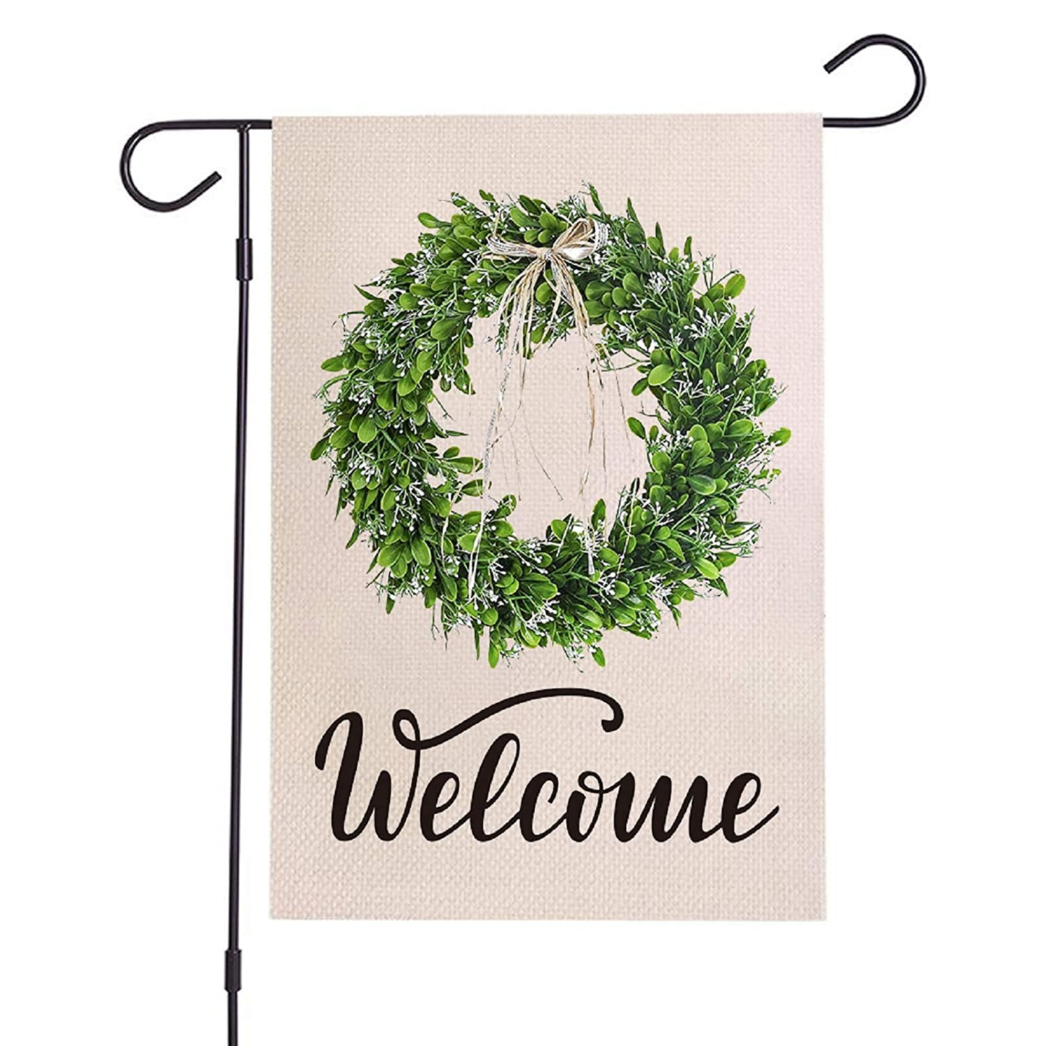 Boxwood Welcome Wreath Garden Flag - Vertical Double Sided ,Spring Summer Fall Valentine's Day Easter Burlap Yard Flag ,Outdoor Rustic Farmhouse Home Decor 12 x 18 Inches(Green)