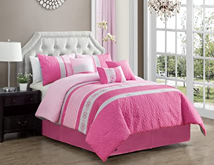 3b6aec2f6ba5 Image Unavailable. Image not available for. Color: Modern 7 Piece KING Bedding  Pink ...