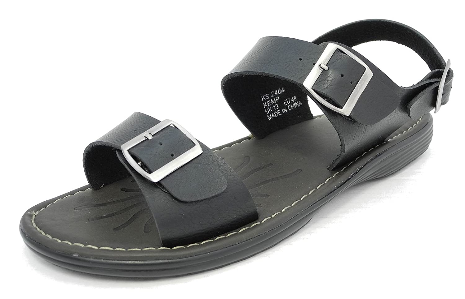 2018 shoes new arrive new release D555 Mens Leather Look Adjustable Buckle Wide Big Fit Jesus Sandals Size 12  13 14 15