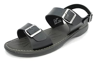 03b15aee34d Mens Leather Look Adjustable Buckle Wide Big Fit Jesus Sandals BLACK ...