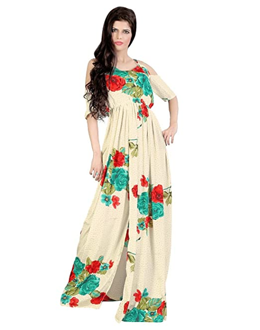 eb3bcf6ce3ac Summer Collection FashionVerb Floral Print Beige red turquoise Crepe fabric  Party wear V-Neck Half