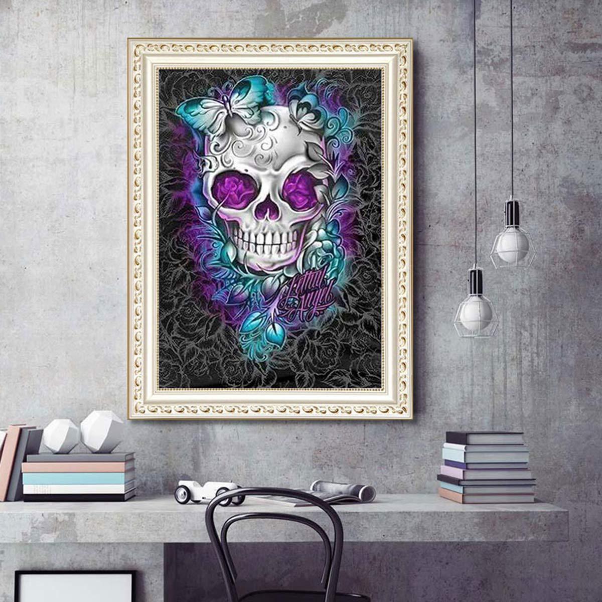 DIY 5D Full Drill Diamond Painting Kits for Adults Kids Crystal Rhinestone Diamond Embroidery Paintings Arts Craft Home Wall Decor Skull, 30x40CM