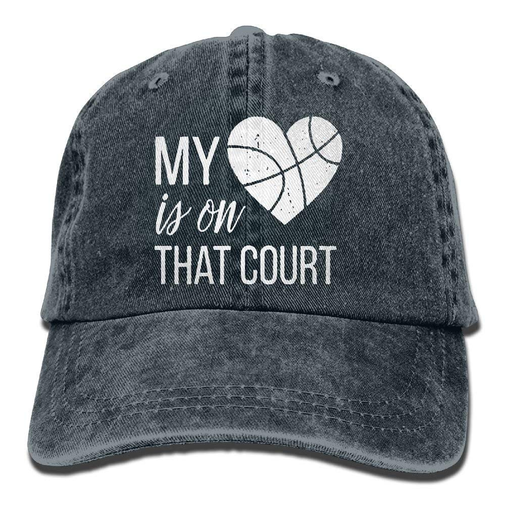 My Heart is On That Court Basketball Yarn-Dyed Adjustable Denim Baseball Cap  at Amazon Men s Clothing store  3de8e183e5c5