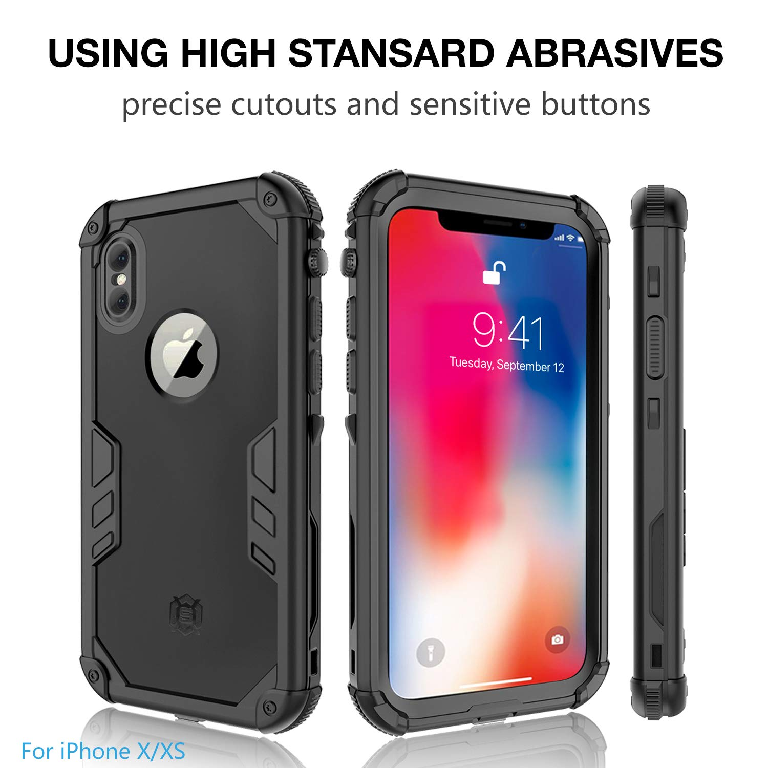 huge selection of 20e46 fa595 Meritcase iPhone X/Xs Waterproof Case, iPhone X Full Protection IP 68 15M  Underwater 3M Dropproof Snowproof Dirtyproof Dustproof Heavy Duty Rugged ...