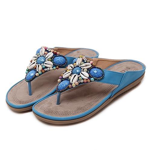 TieNew 2018 Sandalias Mujer Chanclas Tacon del Verano Zapatos Bohemias Cómodos Las Sandalias Planas,Mujeres Moda Chanclas Verano Flat Flip Flop Sandalias ...