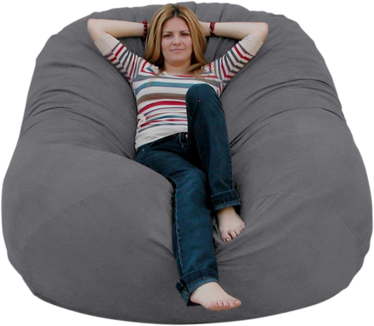 Amazon Com Cozy Sack 6 Feet Bean Bag Chair Large Grey Furniture Decor