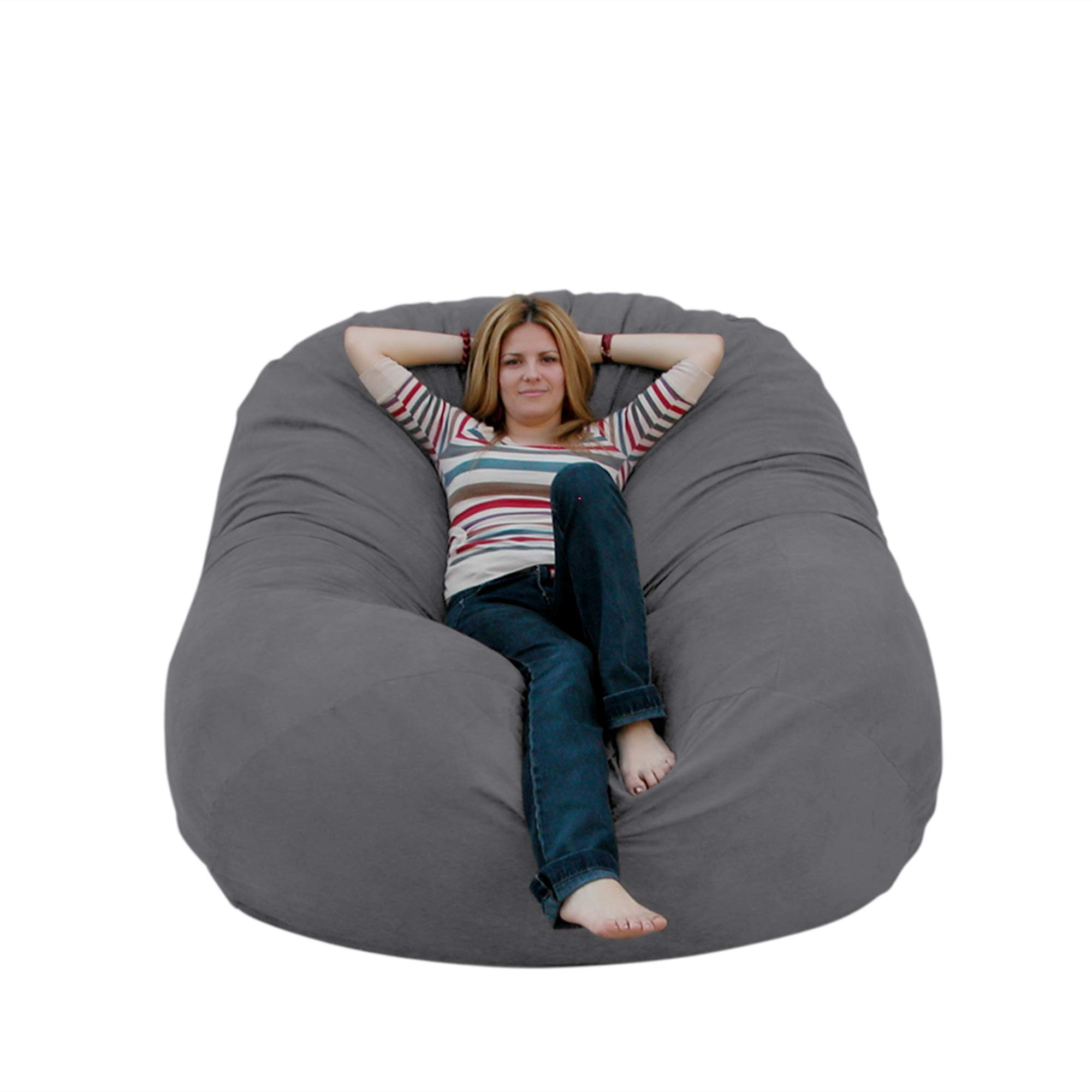 Cozy Sack 6-Feet Bean Bag Chair, Large, Grey by Cozy Sack