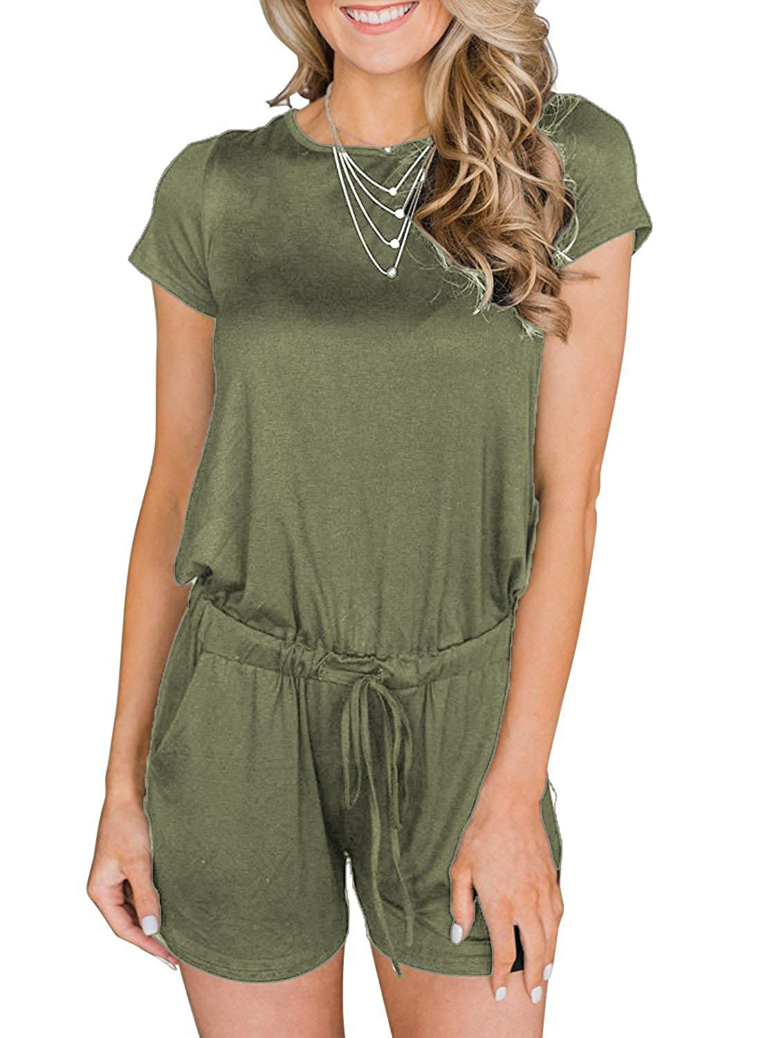 005 army Green Artfish Women's Summer Striped Jumpsuit Casual Loose Short Sleeve Jumpsuit Rompers