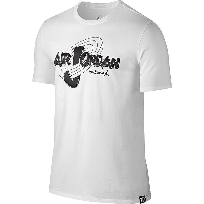 4c7b9908b2880f Amazon.com  Jordan Mens Retro 11 Space Jam T Shirt White  Sports ...
