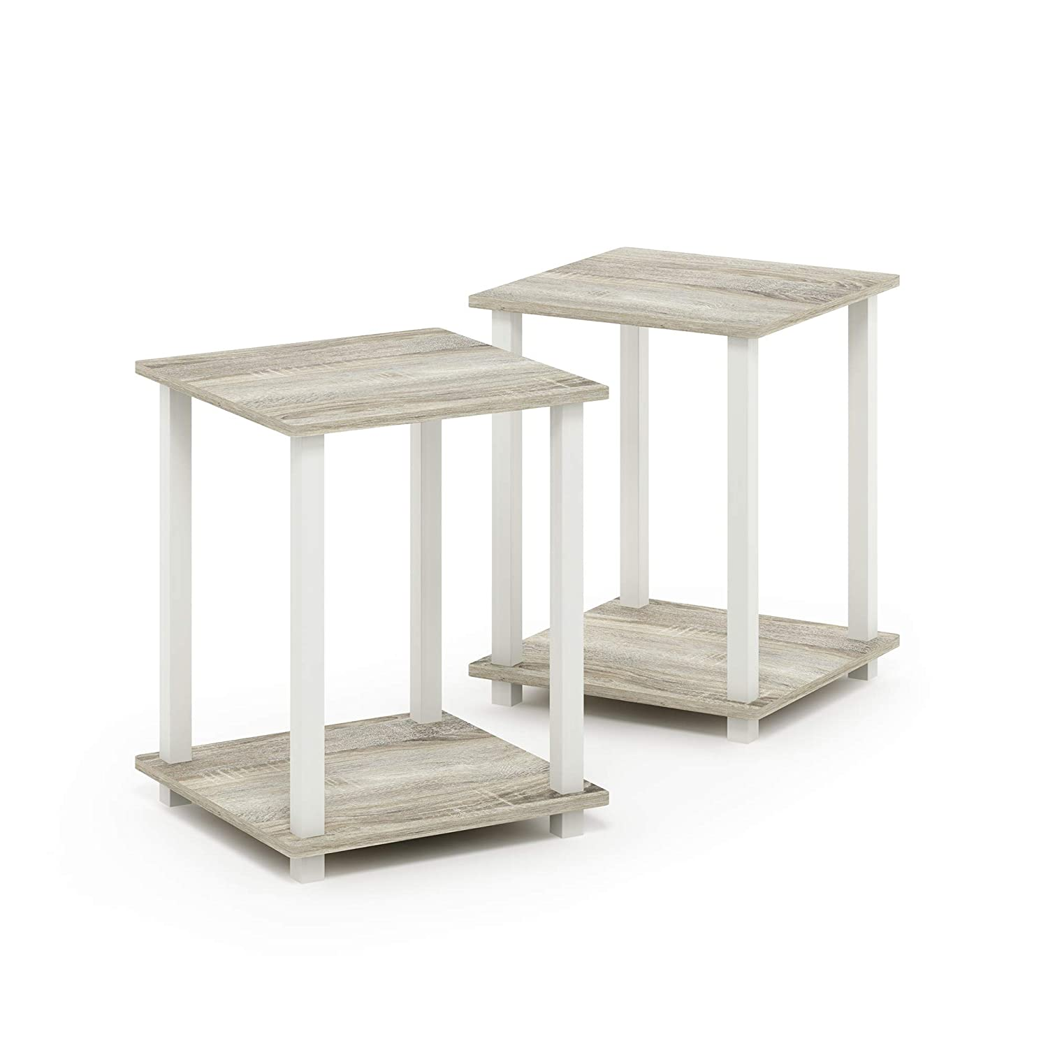 Furinno 12127OK/WH Simplistic End Table Set of Two, Sonoma Oak/White
