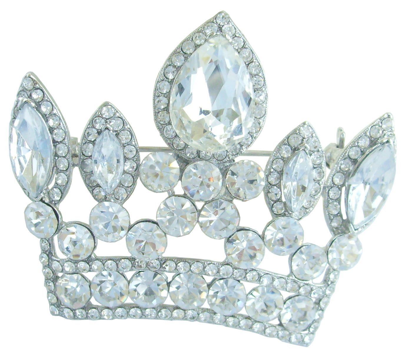 Sindary Classic 2.56'' Crown Brooch Pin Pendant Austrian Crystal BZ5050 (Silver-Tone Clear)