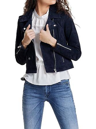 buy online 6829f bb3fa ONLY Damen Echt Lederjacke Jacke onlGRACE SUEDE BIKER OTW Biker blau