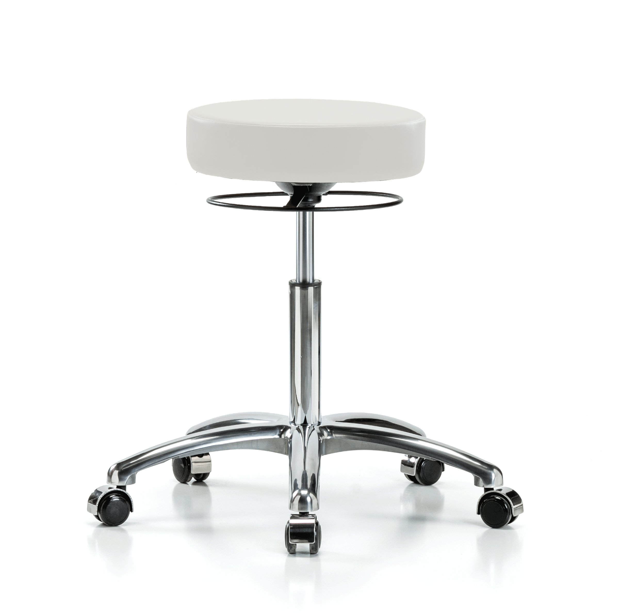 Perch Chrome Stella Rolling Adjustable Stool Medical Salon Spa Massage Tattoo Office 21'' - 28.5'' (Hard Floor Casters/Adobe White Vinyl)