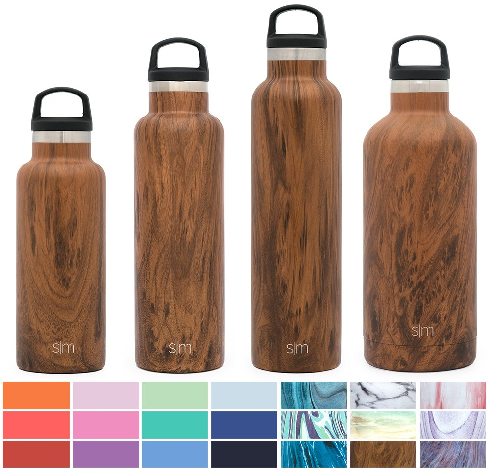 Simple Modern 32oz Ascent Water Bottle - Stainless Steel Hydro Swell Flask w/Handle Lid - Metal Double Wall Vacuum Insulated Reusable Tumbler Aluminum 1 Liter Cold Leak Proof - Wood Grain