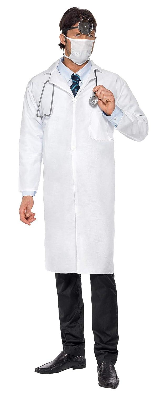 SmiffyS 22192L Disfraz De Médico Con Bata Larga Y Mascarilla, Blanco, L - Tamaño 42