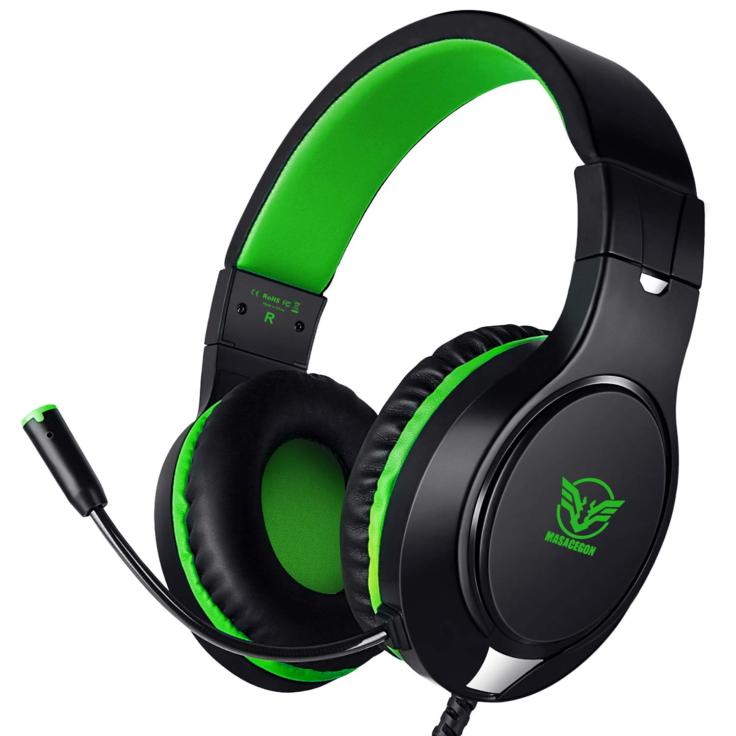 Karvipark H-10 Gaming Headset for Xbox One/PS4/PC/Nintendo Switch|Noise Cancelling,Bass Surround Sound,Over Ear,3.5mm Stereo Wired Headphones with Mic for Clear Chat (Green) by Karvipark