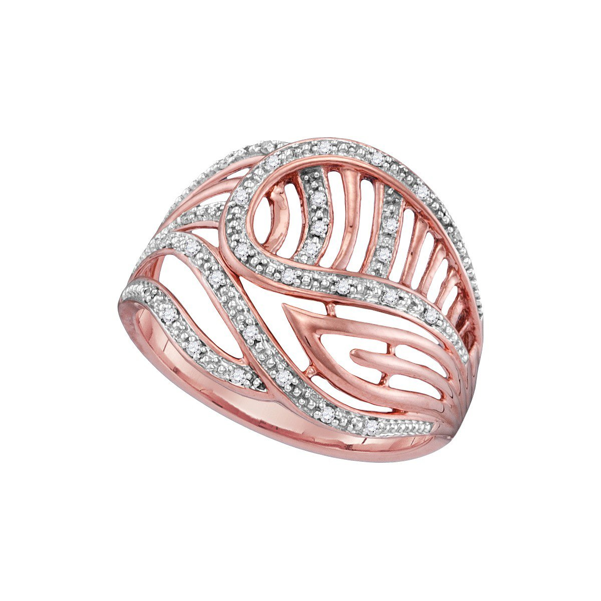 10k Rose Gold Round Diamond Open-Work Cockail Ring (1/10 Cttw) Sonia Jewels 4815341
